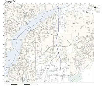 Amazon Com Zip Code Wall Map Of Fort Myers Fl Zip Code Map