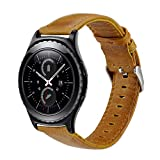 galaxy s2 vintage case - Gear S2 Classic Leather Band, Vintage Series Gear S2 Classic Band Genuine Leather Strap Replacement Band with Classic Stainless Steel Buckle for Samsung Gear S2 Classic Smart Watch SM-R732-brown