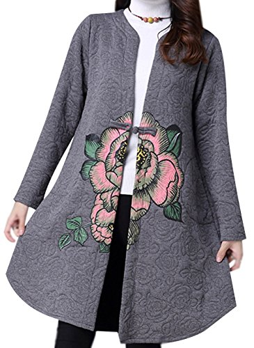One Coat Button Grey Ammy Fashion Trench Thicken Floral Women's Large P zIAtvwqZ