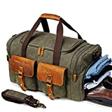 Kemy's Canvas Duffle Bag Oversized Overnight Bags for Men Weekend Travel Duffel Weekender Bags Canvas Leather Gym Travel Shoulder Carry On Luggage Shoes Compartment Thanksgiving Day Christmas Gift