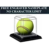 "Softball Personalized Engraved Acrylic Display Case with Beveled Edges and Removable Black Base for an 11"" or 12"" Ball"
