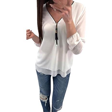 Mujer blusa fiesta,Sonnena ❤ Camisa de gasa casual de verano de mujer con