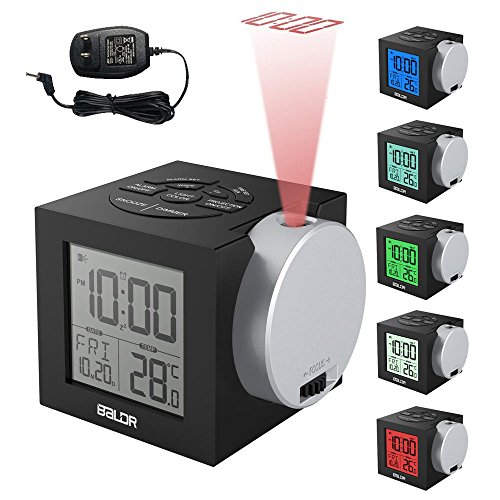 Alarm Clocks Time Projection, New Clock Time on Ceiling Wall for Bedroom Decor, Digital Travel Clock with Colorful Backlight for Kids, Adjustable Brightness & Projector Focus, DC Adpator Included