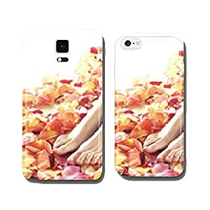Beautiful female legs with colorful flower petals cell phone cover case Samsung S5
