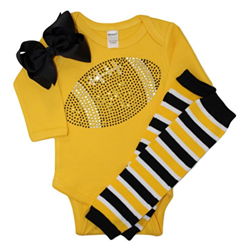 Infant/Baby Girl's Team Colored Rhinestone Black Football on a Yellow Outfit 6-12mo