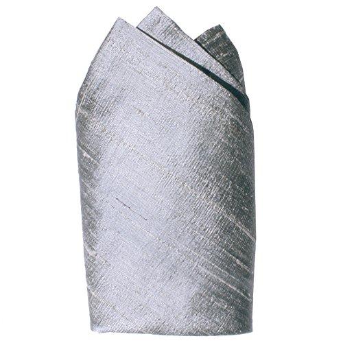 - Silver Dupioni Silk Pocket Square - Full-Sized 16