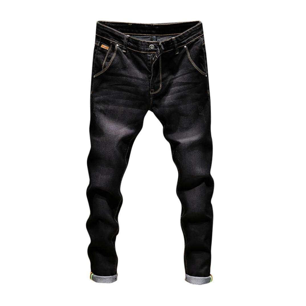 Realdo Hot!Clearance Sale!Mens Daily Casual Jeans, Vintage Wash Durable Work Trousers Jeans Pants (34,Black)