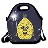 Amurder Cartoon Funny Hawaiian Pineapple Insulated Personalized Tote Lunch Food Bag Black