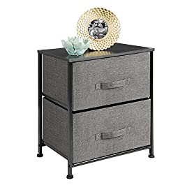 mDesign Short Vertical Dresser Storage Tower – Sturdy Steel Frame, Wood Top, Easy Pull Fabric Bins – Organizer Unit for Bedroom, Hallway, Entryway, Closets – Textured Print, 2 Drawers