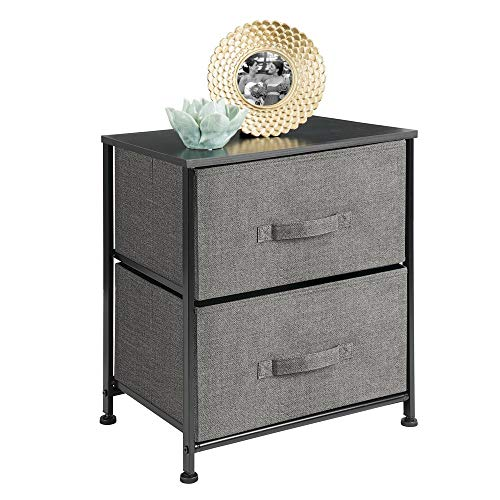 mDesign Vertical Dresser Storage Tower – Sturdy Steel Frame, Wood Top, Easy Pull Fabric Bins – Organizer Unit for Bedroom, Hallway, Entryway, Closets – Textured Print – 2 Drawers – Charcoal Gray/Black