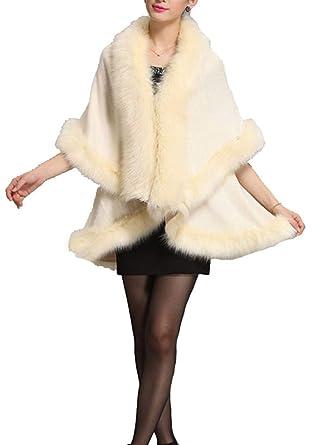 8ed6d7388 Helan Women's Faux Fox Fur Double Layers Shawl Cloak Cape Coat Beige ...