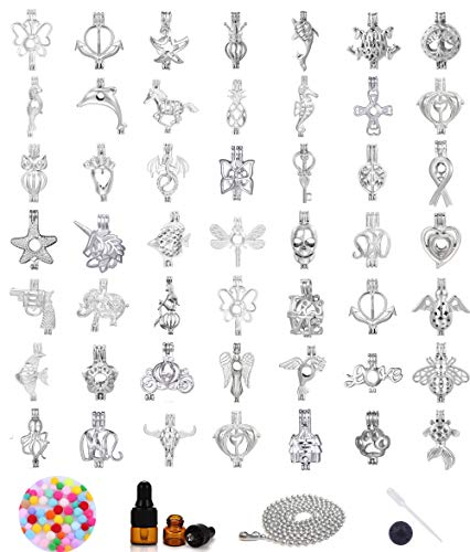 30pcs Mix Stainless Steel Tones Alloy Bead Cage Pendant - Add Your Own Pearls, Stones, Rock to Cage,Add Perfume and Essential Oils to Create a Scent Diffusing Locket Pendant Christmas Gift Charms