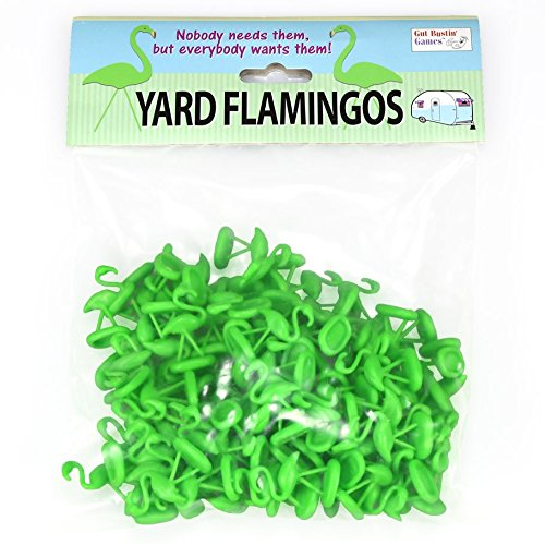 Gut Bustin' Games Green Yard Flamingo Miniatures, Set of 100, Toy