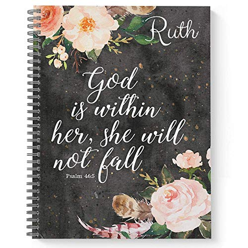 She Will Not Fall Personalized Religious Notebook/Journal, Laminated Soft Cover, 120 College Ruled pages, lay flat wire-o spiral. Size: 8.5