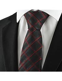 Checked Pattern Red Black Men Tie Formal Necktie
