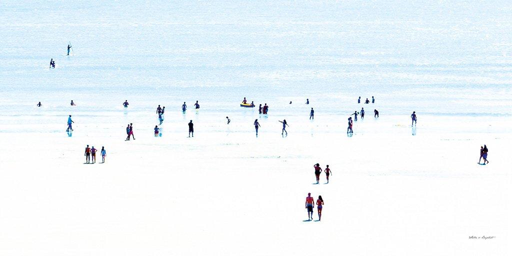 Menschen am Meer 4 - Künstlermotiv, XXL Bild / Wandbild, Größe: 120 x 60 cm Quer-Format, Panorama, Digital-Druck auf Acrylglas 5 mm. Frankreich Strand Frau Mann Kind blau bunt weiß Liebe groß Kunst