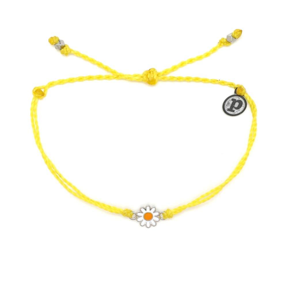 Pura Vida Silver Daisy Yellow Bracelet - Waterproof, Artisan Handmade, Adjustable, Threaded, Fashion Jewelry for Girls/Women by Pura Vida