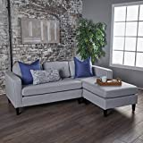 Windsor Two Piece Sectional Sofa Mid Century Danish Scandinavian Design (Light Grey)