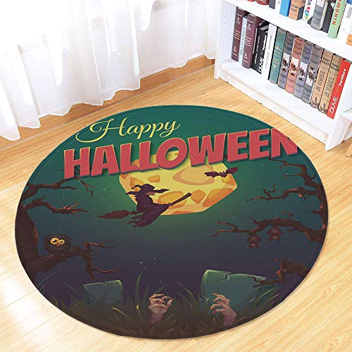 Halloween Non Slip Round Mat,Happy Halloween Poster Design Witch on Broom Mushroom Dead Resurgence Vintage Decorative for Toilet Balcony Corridor,35.43