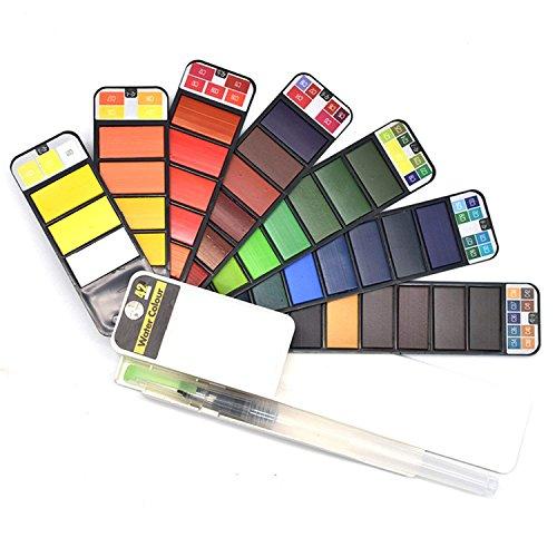絵の具セット 透明水彩セット 固形水彩 水筆ぺンとカラーカード付き 折り畳み式 携帯用 42色