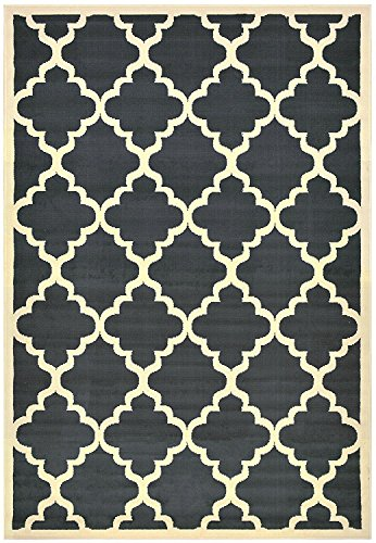 Moroccan Trellis Modern Area Rug Rugs Modela Collection (Dark Gray, 3'3″ x 4'7″) For Sale