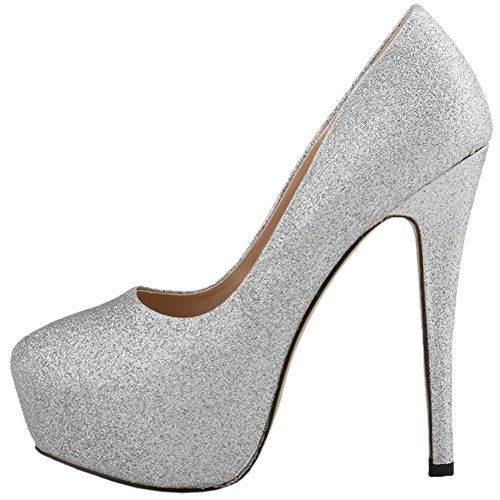 Slip Zapatos Silver On tacón de con de boda de mujer de para HooH aguja tacón Zapato alto plataforma gHZWnxx7