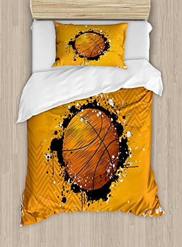 Ambesonne Basketball Duvet Cover Set Twin Size, Basketball and Paint Splashes on Abstract Grungy Background Sport Theme Print, Decorative 2 Piece Bedding Set with 1 Pillow Sham, Orange Black