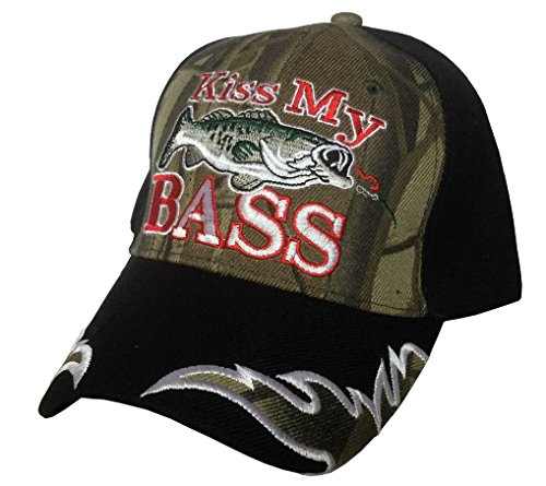 S 3D Embroidered Kiss My Bass Camo Fisherman Baseball Cap Hat, Adjustable (Front Camo)