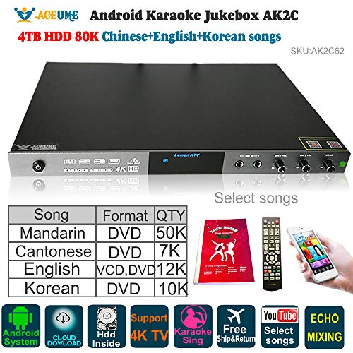 4TB HDD 80K English+Chinese+Korean Songs,Android karaoke Player,Jukebox,Home KTV,Cloud Download,ECHO,Microphone Port,YouTube Songs Selected ()