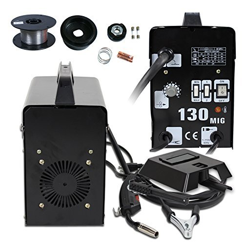 Cu ALightup Commercial MIG 130 AC Gas-Less Flux Core Wire Automatic Feed Welder Welding Machine with Helmet Wire Mask 60 AMP Automatic Feed Unit DIY 110V (Black)