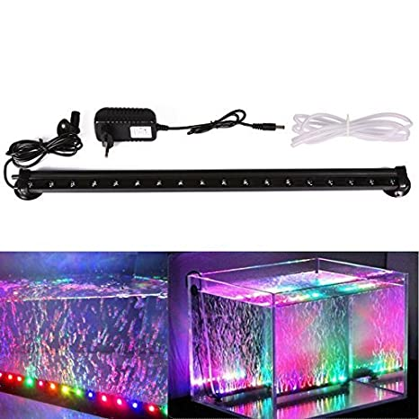 Xcellent Global Luz de 18 LED RGB multicolor LED para acuario Lámpara de burbujas resistente al agua con flash lento Flash 46 CM con enchufe europeo LD081E: ...