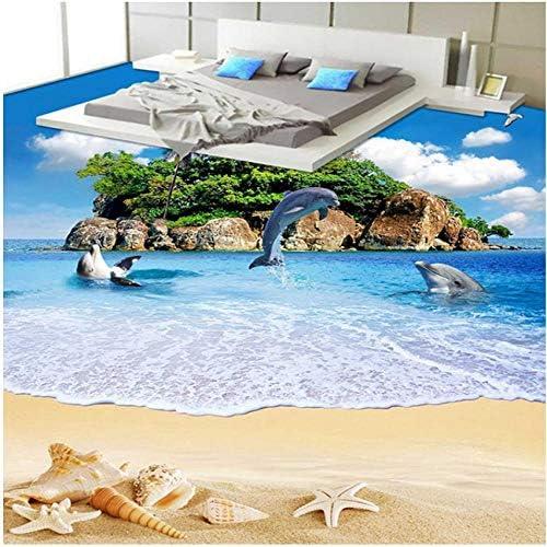 壁画壁紙海島イルカビーチ風景PVCビニールフローリング防水自己接着壁画ステッカー紙-400X280CM …
