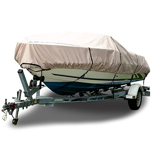 Budge Sunbrella Boat Cover fits V-Hull Runabout Boats B-1703-X8 (24' to 26' Long, Tan)
