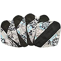 MUMBABY 5 Pieces Charcoal Bamboo Mama Cloth/Menstrual Pads/Reusable Sanitary Pads (8inch, Silver)