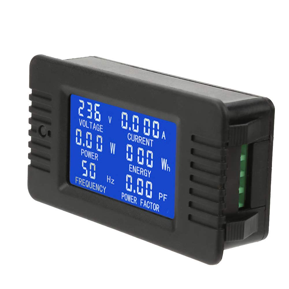 AC Digital Meter 100A LCD Display Multimeter Digital Meter with Closed Type CT Power Energy Voltage Current Frequency Test Black