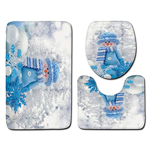 Sunshinehomely SHL Christmas Snowman Non-Slip Bath Mat Bathroom Toilet Seat Cover and Rug Christmas Decor 3pcs (H)