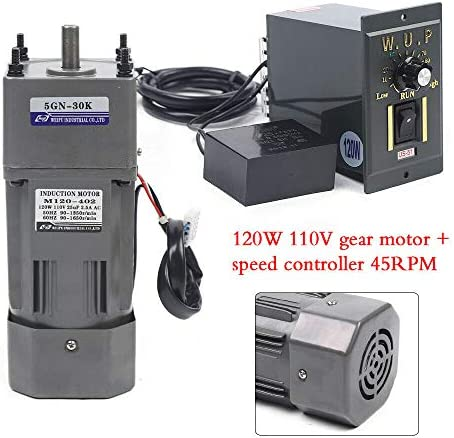 51sQeg9226L. AC 110V 120W Ac Gear Motor Electric Single-phase Motor Gear Motor 0-45RPM Electric Variable Speed Adjustable Controller Governor Geared Motor and Adjustable Speed Controller Combo (Reduction ratio:1:30)     This is a geared AC motor with a working voltage of AC 110V.Less noise, stronger.It's an electric motor, widely used in homes, handcrafts, school projects, model churning soda machines, low-speed machines, and any other product you want.Its stability is strong, the use is more assured, also has the governor, the use can be more convenient. The 120W deceleration motor can achieve super fast speed of 1350 RPM, thus ensuring high efficiency.And the motor has the characteristics of heat resistance, low noise, high quality and long service life.The motor has a compact body, lightweight structure, easy to carry and operate. The single-phase motor also has a reduction gear box and a governor, the speed regulator has a large torque, with a variety of optional speeds.Therefore, it is more convenient to use. You can adjust different speed according to different products to achieve the desired effect. It is very convenient and fast to use. Name: geared motor. Rated voltage: AC110 V. Rated speed: 45RPM/MIN. Reduction ratio: 1:30(30K). Power Phase: single-phase. 120W geared motor:6.5inch * 3.5inch *3inch. Reducer size: 2.5inch*3.5inch *3inch. Torque: at full speed 20nm. 120W gear motor Output speed: 45~0RPM. Product List:1 * Gear Motor, 1 * speed controller, 1 * Reducer. Our products are shipped directly from the US warehouse. We have strict quality control system, our products are put into the market after rigorous testing. We provide friendly customer services forever. If you have any questions or quality issue,please feel free to contact us.