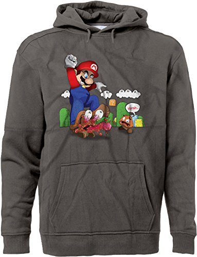 BSW Men's Super Mario Goomba Squish Harsh Premium Hoodie 3XL (Mens Super Mario Luigi Hoodie)