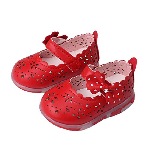 Summer Baby Girl Sandals Hollow Bowknot Sandals Lighted Soft-Soled Princess Shoes Red 4.5 ()