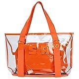 Sumerk 2 in 1 Large Clear PVC beach bag, Waterproof Beach Shoulder Bag Tote Bags - Orange