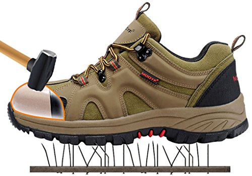 Men's Work Safety Shoes,Modyf Steel Toe Outdoor Puncture Proof Footwear Industrial and Construction Shoe