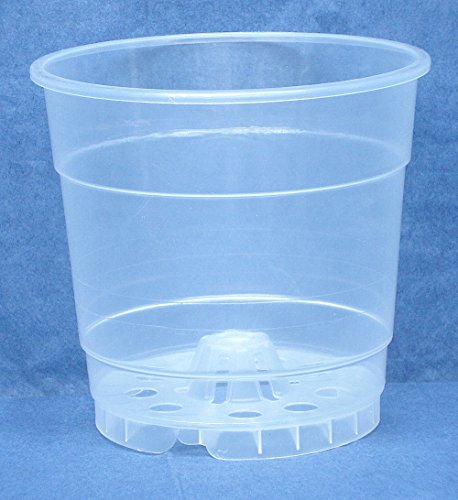 - 4.5 Inch Round Clear Plastic Orchid Pot-5 Pack