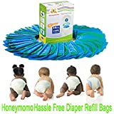 35 Packs One Box Baby Bathing Diaper Refill Bags with Toss and Hassle Free Blue Bags Green Ring,1050 Count Disposal Snap Seal Diaper Pail Liners,Fully Compatible with Arm&Hammer Disposal System