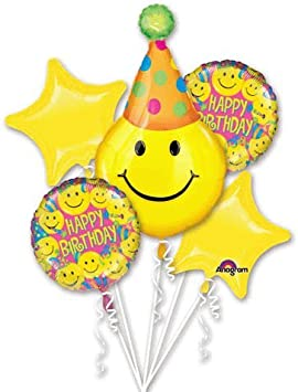 Amazon.com: Gorro de fiesta Carita Feliz cumpleaños ramo de ...