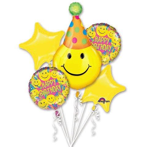 Party Hat Smiley Face Birthday Balloons - Happy Birthday Balloon -