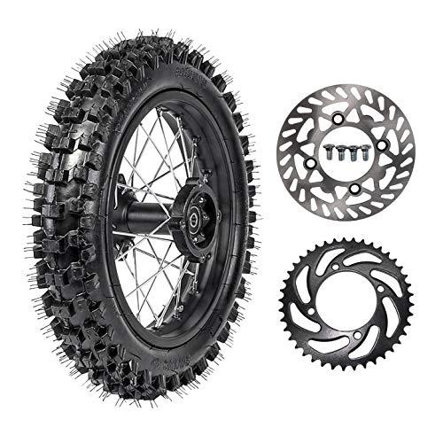 TDPRO 80/100-12 Rear Tire Disc Brake Wheel Rim With 15mm Bearing & 190mm Rear Brake Disc Rotor & 41T Sprocket for Pit Pro Dirt Bike