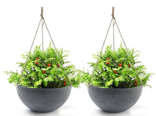 Hanging Planters 13.8 In Resin Flower Pots Outdoor, Unbreakable Garden Planters for Plants, Large Grey, Set of (Hanging Basket)