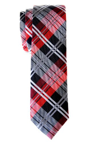 Necktie Thin Retro Skinny Tie (Retreez Elegant Tartan Check Woven Microfiber Skinny Tie - Black and Red)