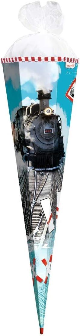 Roth Schultüte 35cm rund Lokomotive Lok Eisenbahn Zuckertüte Schulanfang Tüll