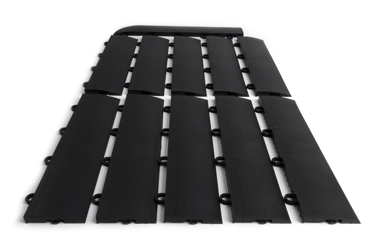 SnapFloors E175BLAK11F Transition Kit 10 Edges, 1 Female Corner Durable Interlocking Modular Garage Flooring Tile (11 Piece), Black, by SnapFloors